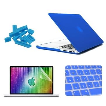 MacBook Pro Retina 15.4 inch 4 in 1 Frosted patroon Hardshell ENKAY behuizing met ultra-dun TPU toetsenbord Cover en afsluitende poort pluggen (donker blauw)