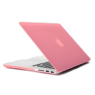 MacBook Pro Retina 15.4 inch 4 in 1 Frosted patroon Hardshell ENKAY behuizing met ultra-dun TPU toetsenbord Cover en afsluitende poort pluggen (roze)
