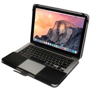 MacBook Pro Retina 15.4 inch PU leren Hoesje met snap-on bevestiging (zwart)