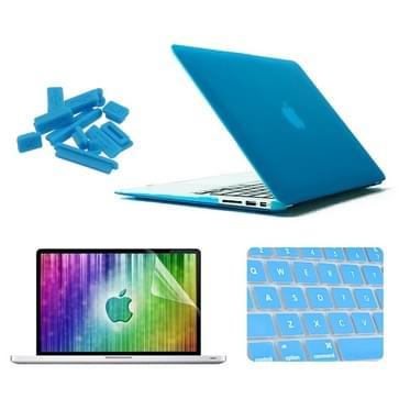 MacBook Air 13.3 inch 4 in 1 Frosted patroon Hardshell ENKAY behuizing met ultra-dun TPU toetsenbord Cover en afsluitende poort pluggen (blauw)