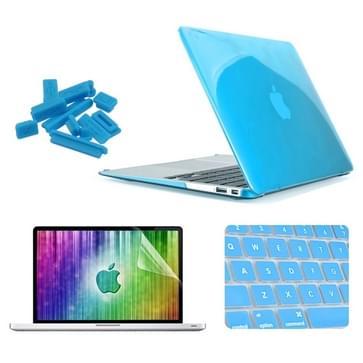 MacBook Air 13.3 inch 4 in 1 Kristal patroon Hardshell ENKAY behuizing met ultra-dun TPU toetsenbord Cover en afsluitende poort pluggen (blauw)