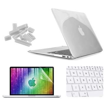 MacBook Air 13.3 inch 4 in 1 Kristal patroon Hardshell ENKAY behuizing met ultra-dun TPU toetsenbord Cover en afsluitende poort pluggen Wit