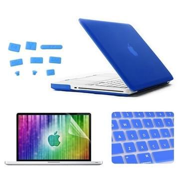 MacBook Pro 13.3 inch 4 in 1 Frosted patroon Hardshell ENKAY behuizing met ultra-dun TPU toetsenbord Cover en afsluitende poort pluggen (donker blauw)