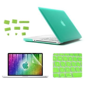 MacBook Pro 15.4 inch 4 in 1 Frosted patroon Hardshell ENKAY behuizing met ultra-dun TPU toetsenbord Cover en afsluitende poort pluggen (groen)