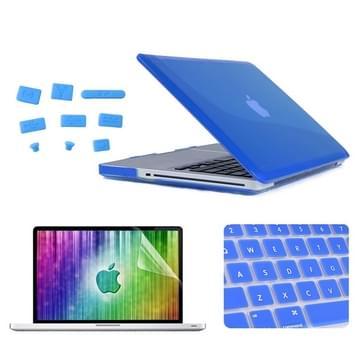 MacBook Pro 13.3 inch 4 in 1 Kristal patroon Hardshell ENKAY behuizing met ultra-dun TPU toetsenbord Cover en afsluitende poort pluggen (donker blauw)