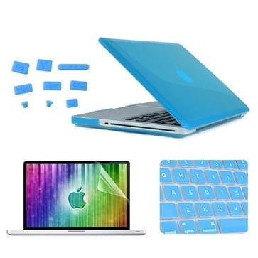 MacBook Pro 13.3 inch 4 in 1 Kristal patroon Hardshell ENKAY behuizing met ultra-dun TPU toetsenbord Cover en afsluitende poort pluggen (blauw)