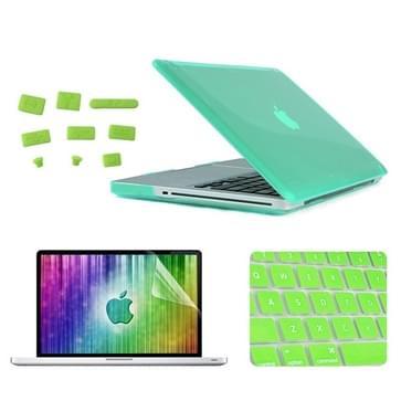 MacBook Pro 15.4 inch 4 in 1 Kristal patroon Hardshell ENKAY behuizing met ultra-dun TPU toetsenbord Cover en afsluitende poort pluggen (groen)