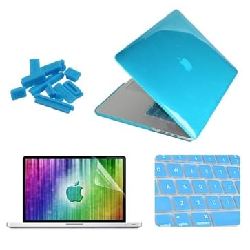 MacBook Pro Retina 13.3 inch 4 in 1 Kristal patroon Hardshell ENKAY behuizing met ultra-dun TPU toetsenbord Cover en afsluitende poort pluggen (blauw)