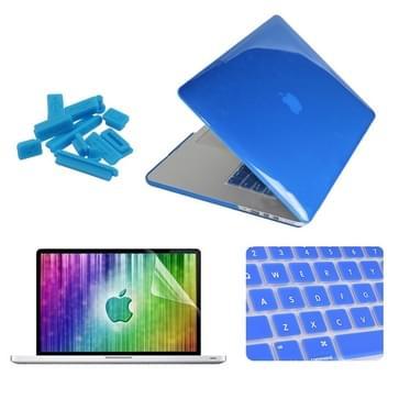 MacBook Pro Retina 15.4 inch 4 in 1 Kristal patroon Hardshell ENKAY behuizing met ultra-dun TPU toetsenbord Cover en afsluitende poort pluggen (donker blauw)