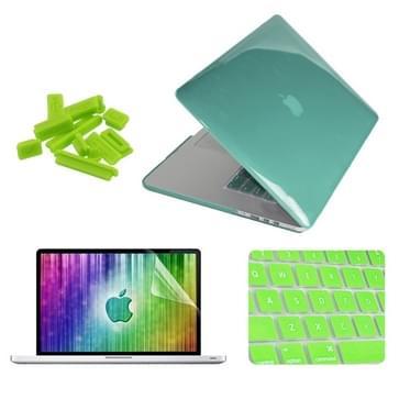MacBook Pro Retina 15.4 inch 4 in 1 Kristal patroon Hardshell ENKAY behuizing met ultra-dun TPU toetsenbord Cover en afsluitende poort pluggen (groen)