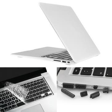 MacBook Air 11.6 inch 3 in 1 Frosted patroon Hardshell ENKAY behuizing met ultra-dun TPU toetsenbord Cover en afsluitende poort pluggen Wit