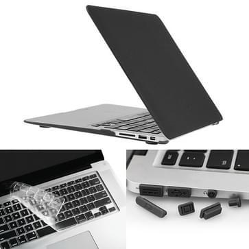 MacBook Air 13.3 inch 3 in 1 Frosted patroon Hardshell ENKAY behuizing met ultra-dun TPU toetsenbord Cover en afsluitende poort pluggen (zwart)