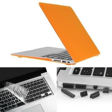 MacBook Air 13.3 inch 3 in 1 Frosted patroon Hardshell ENKAY behuizing met ultra-dun TPU toetsenbord Cover en afsluitende poort pluggen (Oranje)