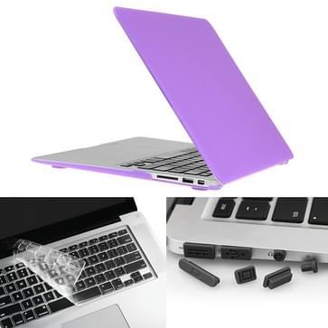 MacBook Air 13.3 inch 3 in 1 Frosted patroon Hardshell ENKAY behuizing met ultra-dun TPU toetsenbord Cover en afsluitende poort pluggen (paars)