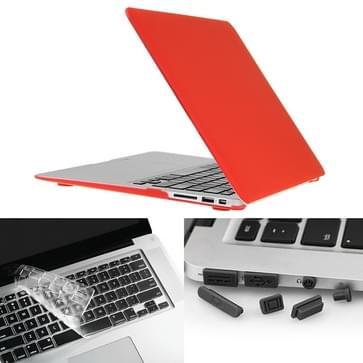 MacBook Air 13.3 inch 3 in 1 Frosted patroon Hardshell ENKAY behuizing met ultra-dun TPU toetsenbord Cover en afsluitende poort pluggen (rood)