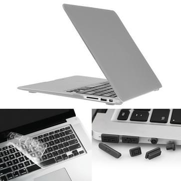MacBook Air 13.3 inch 3 in 1 Frosted patroon Hardshell ENKAY behuizing met ultra-dun TPU toetsenbord Cover en afsluitende poort pluggen (zilverkleurig)