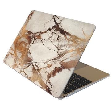 MacBook Air 11.6 inch Marmer patroon bescherm Sticker voor Cover (wit bruin)