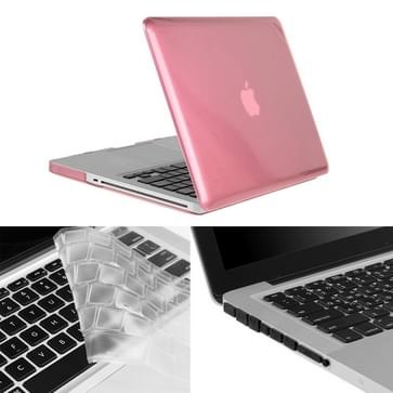 MacBook Pro 13.3 inch 3 in 1 Kristal patroon Hardshell ENKAY behuizing met ultra-dun TPU toetsenbord over en afsluitende poort pluggen (roze)