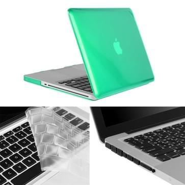 MacBook Pro 13.3 inch 3 in 1 Kristal patroon Hardshell ENKAY behuizing met ultra-dun TPU toetsenbord over en afsluitende poort pluggen (groen)