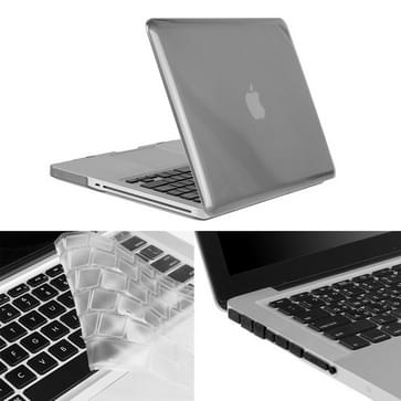 MacBook Pro 13.3 inch 3 in 1 Kristal patroon Hardshell ENKAY behuizing met ultra-dun TPU toetsenbord over en afsluitende poort pluggen (grijs)