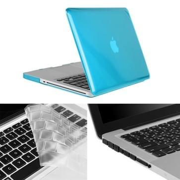 MacBook Pro 13.3 inch 3 in 1 Kristal patroon Hardshell ENKAY behuizing met ultra-dun TPU toetsenbord over en afsluitende poort pluggen (blauw)