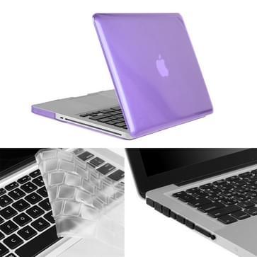 MacBook Pro 13.3 inch 3 in 1 Kristal patroon Hardshell ENKAY behuizing met ultra-dun TPU toetsenbord over en afsluitende poort pluggen (paars)