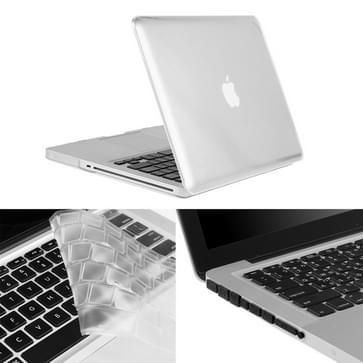 MacBook Pro 13.3 inch 3 in 1 Kristal patroon Hardshell ENKAY behuizing met ultra-dun TPU toetsenbord over en afsluitende poort pluggen Wit