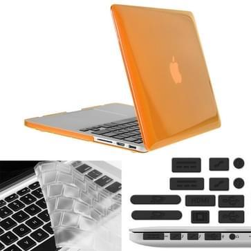 MacBook Pro Retina 13.3 inch 3 in 1 Kristal patroon Hardshell ENKAY behuizing met ultra-dun TPU toetsenbord over en afsluitende poort pluggen (Oranje)