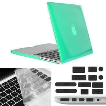 MacBook Pro Retina 13.3 inch 3 in 1 Kristal patroon Hardshell ENKAY behuizing met ultra-dun TPU toetsenbord over en afsluitende poort pluggen (groen)
