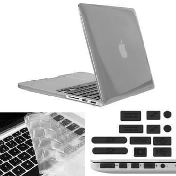 MacBook Pro Retina 13.3 inch 3 in 1 Kristal patroon Hardshell ENKAY behuizing met ultra-dun TPU toetsenbord over en afsluitende poort pluggen (grijs)
