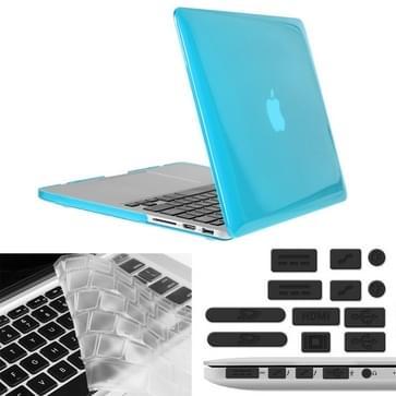 MacBook Pro Retina 13.3 inch 3 in 1 Kristal patroon Hardshell ENKAY behuizing met ultra-dun TPU toetsenbord over en afsluitende poort pluggen (blauw)