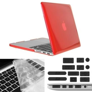 MacBook Pro Retina 13.3 inch 3 in 1 Kristal patroon Hardshell ENKAY behuizing met ultra-dun TPU toetsenbord over en afsluitende poort pluggen (rood)
