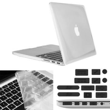 MacBook Pro Retina 13.3 inch 3 in 1 Kristal patroon Hardshell ENKAY behuizing met ultra-dun TPU toetsenbord over en afsluitende poort pluggen Wit