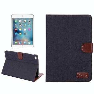 iPad Mini 4 horizontaal Jeans structuur PU leren Flip Hoesje met houder en opbergruimte voor pinpassen & geld (licht blauw)