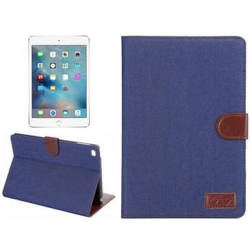 iPad Mini 4 horizontaal Jeans structuur PU leren Flip Hoesje met houder en opbergruimte voor pinpassen & geld (donker blauw)