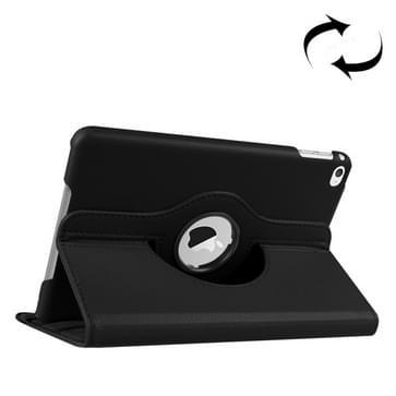 iPad Mini 4 horizontaal Litchi structuur PU leren Flip Hoesje met 360 graden draaiende houder (zwart)