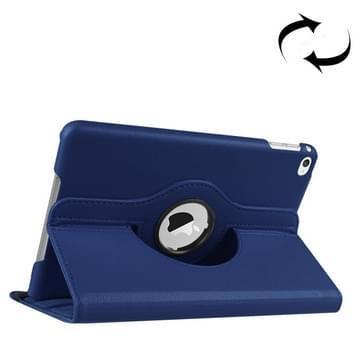 iPad Mini 4 horizontaal Litchi structuur PU leren Flip Hoesje met 360 graden draaiende houder (donker blauw)