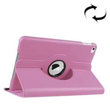 iPad Mini 4 horizontaal Litchi structuur PU leren Flip Hoesje met 360 graden draaiende houder (roze)