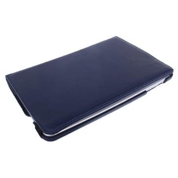 360 graden draaiend Litchi structuur lederen hoesje met houder voor iPad mini 1 / 2 / 3 (donker blauw)