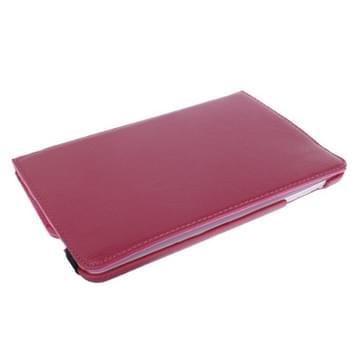 360 graden draaiend Litchi structuur lederen hoesje met houder voor iPad mini 1 / 2 / 3 (hard roze)