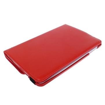 360 graden draaiend Litchi structuur lederen hoesje met houder voor iPad mini 1 / 2 / 3 (rood)