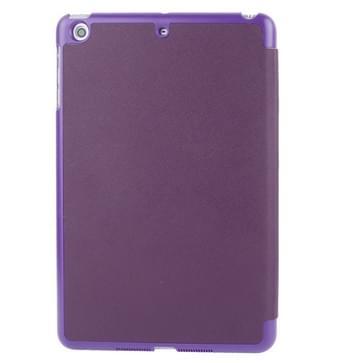 3-vouw Kruis structuur lederen hoesje met houder & slaap / wekker functie voor iPad mini 1 / 2 / 3 (paars)