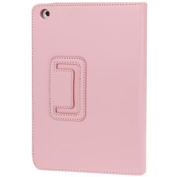 2-fold Litchi structuur Flip lederen hoesje met houder functie voor iPad mini 1 / 2 / 3(roze)