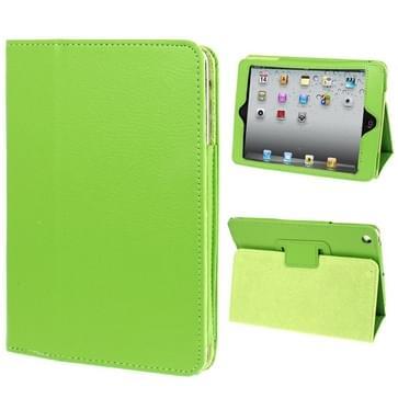 2-fold Litchi structuur Flip lederen hoesje met houder functie voor iPad mini 1 / 2 / 3(groen)