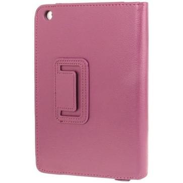 2-fold Litchi structuur Flip lederen hoesje met houder functie voor iPad mini 1 / 2 / 3(paars)