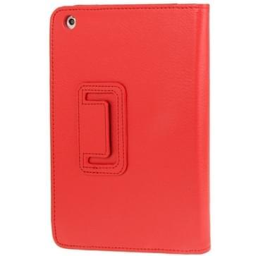 2-fold Litchi structuur Flip lederen hoesje met houder functie voor iPad mini 1 / 2 / 3(rood)