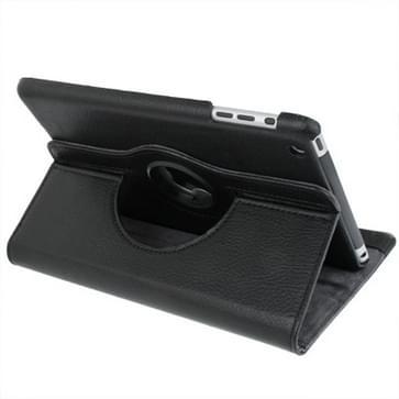 360 graden draaiend lederen hoesje met houder voor iPad mini 1 / 2 / 3 (zwart)