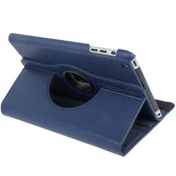 360 graden draaiend lederen hoesje met houder voor iPad mini 1 / 2 / 3 (donker blauw)