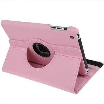 360 graden draaiend lederen hoesje met houder voor iPad mini 1 / 2 / 3 (roze)