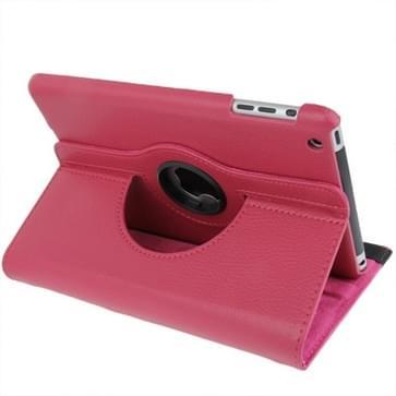 360 graden draaiend lederen hoesje met houder voor iPad mini 1 / 2 / 3 (hard roze)